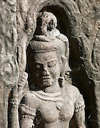 A bas relief carving at the Bayon temple at Angkor, Siem Reap Province, Cambodia