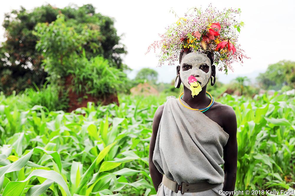 Surma (or Suri) Tribe in the Omo Valley, Southern Ethiopia on the border of Sudan. Kibish Province.