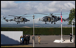 September 13, 2018 - Lympstone, United Kingdom - Image licensed to i-Images Picture Agency. 12/09/2018. Lympstone , United Kingdom. Prince Harry, The Duke of Sussex's helicopter and escort helicopter arriving for a visit at  the Royal Marines Commando Training Centre in Lympstone, Devon, United kingdom,  for the first time in his role as Captain General Royal Marines. (Credit Image: © Stephen Lock/i-Images via ZUMA Press)