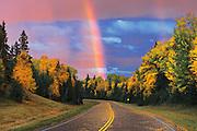 Rainbow after storm<br /> Prince Albert National Park<br /> Saskatchewan<br /> Canada