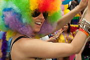 Rainbow-haired participant in the 2011 Pride Parade in New York.