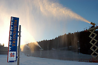 Trondheim 02. Desember 2003, Granåsen, Granasen, snøkanoner, FIS WC Ski Jumping and Nordic Combined, hopp og kombinert.  <br /> There has been a spell of mild weather lately, but a cold front now ensures snow production from 08 AM today until approx. 0300 AM tomorrow.  The ski jumping hill is well prepared and safe, but the cross country part of the nordic combined has been reduced to 1,5 km to make sure both events can be arranged according to plan.<br /> <br /> Foto: Carl-Erik Eriksson, Digitalsport