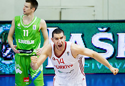 Ramazan Tekin of Turkey reacts during basketball match between National teams of Turkey and Slovenia in Qualifying Round of U20 Men European Championship Slovenia 2012, on July 17, 2012 in Domzale, Slovenia. Slovenia defeated Turkey 72-71 in last second of the game. (Photo by Vid Ponikvar / Sportida.com)
