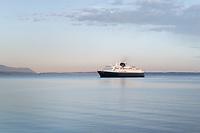 Alaska Ferry in Bellingham Bay on a calm morning, Washington