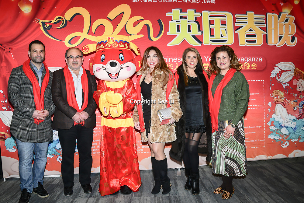 Dani Jamil,Bashier Dawlatly,Mariam Michtawi,Christine Saleh Jamil,Marie Dawlatli attend the 2020 China-Britain Chinese New Year Extravaganza with 200 performers from over 20 art groups from both China and the UK showcase at Logan Hall on 18th January 2020, London, UK.