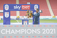 Football -  2020 / 2021 Sky Bet League One - Charlton Athletic vs Hull City - The Valley<br /> <br /> Hull City vice chairman Ehab Allam places the trophy on the plinth before the team lift it to celebrate winning League One.<br /> <br /> COLORSPORT