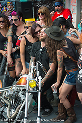 "A happy award winner at Willie's Tropical Tattoo ""Old School Chopper Show"" during Daytona Beach Bike Week 2015. FL, USA. Thursday, March 12, 2015.  Photography ©2015 Michael Lichter."