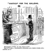 """""""Parties"""" for the Gallows. Newsvender.- """"Now, my man, what is it?"""" Boy.- """"I vonts a nillustrated newspaper with a norrid murder and a likeness in it."""""""