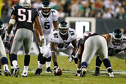 Philadelphia Eagles offensive tackle Jamaal Jackson #67 on the line of scrimmage during the preseason NFL game between the New England Patriots and the Philadelphia Eagles. The Patriots won 27-25 at Lincoln Financial Field in Philadelphia, Pennsylvania. (Photo by Brian Garfinkel)
