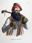 Mendicant musician carrying a stringed instrument similar to a lute. Hand-coloured lithograph from 'L'Inde franciase', Paris, 1828.