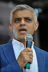 © Licensed to London News Pictures. 02/07/2017. London, UK. Sadiq Khan gives a welcome speech. People celebrate the EID Festival in Trafalgar Square, an event hosted by The Mayor of London.  The Mayor's festival takes place in the square one week after the end of Ramadan and includes a variety of stage performances and cultural activities. Photo credit : Stephen Chung/LNP