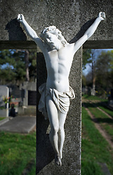 Crucifix marble stone cross grave cemetery Christ