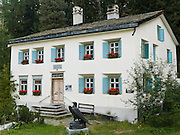 """Philosopher Friedrich Wilhelm Nietzsche stayed in this summer house 1881-1888 in Sils Maria, Upper Engadine, Switzerland, the Alps, Europe. Nietzsche (1844-1900) was a German philosopher, poet, composer and classical philologist. He wrote critical texts on religion, morality, contemporary culture, philosophy and science, displaying a fondness for metaphor, irony and aphorism. His central philosophy of """"life-affirmation"""" involves an honest questioning of social doctrines that drain life's expansive energies. Nietzsche still influences existentialism, nihilism, and postmodernism with key ideas such as the death of God, perspectivism, the Übermensch, the eternal recurrence, and the will to power. The Swiss valley of Engadine translates as the """"garden of the En (or Inn) River"""" (Engadin in German, Engiadina in Romansh, Engadina in Italian)."""
