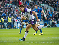 EDINBURGH, SCOTLAND - FEBRUARY 11: Hugh Jones powers through to score Scotland's second try during the NatWest Six Nations match between Scotland and France at Murrayfield on February 11, 2018 in Edinburgh, Scotland. (Photo by MB Media/Getty Images)
