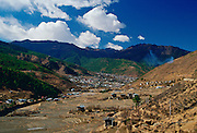 The town of Thimpu, the capital of Bhutan nestling among the mountains.