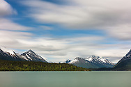 Long exposure of Upper Trail Lake on the Kenai Peninsula in Southcentral Alaska. Spring. Afternoon.