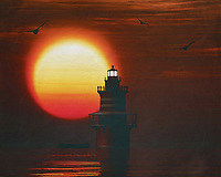 A lighthouse is meant to be a beacon for navigation. You can find a lighthouse along the coast anywhere in the world. In modern times, a lighthouse did lose some of its function due to more advanced technology; However, a lighthouse still retains its romantic function for many.<br /> This painting easily brings the atmosphere of the sea to your home. This coastal scene can be printed in different sizes and on different materials. Both on canvas, wood, metal or framed so it certainly fits into your interior. –<br /> -<br /> BUY THIS PRINT AT<br /> <br /> FINE ART AMERICA / PIXELS<br /> ENGLISH<br /> https://janke.pixels.com/featured/3-newport-lighthouse-with-a-sunset-jan-keteleer.html<br /> <br /> <br /> WADM / OH MY PRINTS<br /> DUTCH / FRENCH / GERMAN<br /> https://www.werkaandemuur.nl/nl/shopwerk/De-Vuurtoren-van-Newport-met-een-zonsondergang-en-wervelende-Stratus-wolken/782398/132?mediumId=15&size=70x55<br /> –<br /> -