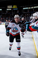 KELOWNA, BC - FEBRUARY 15: Matthew Wedman #20 of the Kelowna Rockets fist bumps the bench to celebrate a goal against the Red Deer Rebels at Prospera Place on February 15, 2020 in Kelowna, Canada. (Photo by Marissa Baecker/Shoot the Breeze)