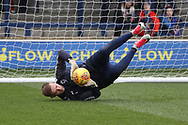 AFC Wimbledon goalkeeper George Long (1) warming up during the EFL Sky Bet League 1 match between AFC Wimbledon and Northampton Town at the Cherry Red Records Stadium, Kingston, England on 10 February 2018. Picture by Matthew Redman.