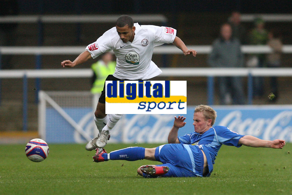 Photo: Pete Lorence.<br />Peterborough United v Hereford United. Coca Cola League 2. 27/10/2007.<br />Jamie Day tackles Lionel Ainsworth.
