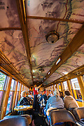 Passenger car interior on the Durango & Silverton Narrow Gauge Railroad, Durango, Colorado USA