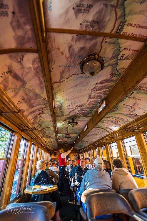 Passenger car interior on the Durango & Silverton Narrow Gauge Railroad, Durango, Colorado USA