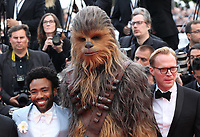 Donald Glover, Chewbacca, Paul Bettany, at the Solo: A Star Wars Story gala screening at the 71st Cannes Film Festival, Tuesday 15th May 2018, Cannes, France. Photo credit: Doreen Kennedy