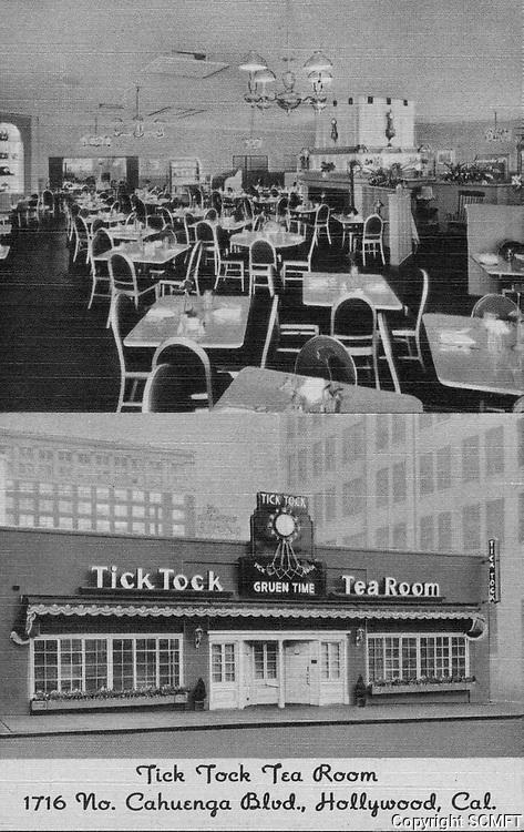 1949 Postcard of the Tick Tock Restaurant on Cahuenga Blvd.