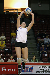 24 November 2006: Kristin Belzung sets the ball during a Semi-final match between the Creighton University Bluejays and the Northern Iowa University Panthers. The Tournament was held at Redbird Arena on the campus of Illinois State University in Normal Illinois.<br />