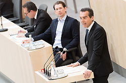 17.04.2018, Hofburg, Wien, AUT, Parlament, Sitzung des Nationalrates mit Generaldebatte über das Doppelbudget 2018 und 2019, im Bild SPÖ-Klubobmann Christian Kern vor Bundeskanzler Sebastian Kurz (ÖVP) und Vizekanzler Heinz-Christian Strache (FPÖ) // Party whip of the Austrian Social Democratic Party Christian Kern in front of Austrian Federal Chancellor Sebastian Kurz and Austrian Vice Chancellor Heinz-Christian Strache during meeting of the National Council of Austria regarding on federal budget for 2018 and 2019 at Hofburg palace in Vienna, Austria on 2018/04/17, EXPA Pictures © 2018, PhotoCredit: EXPA/ Michael Gruber
