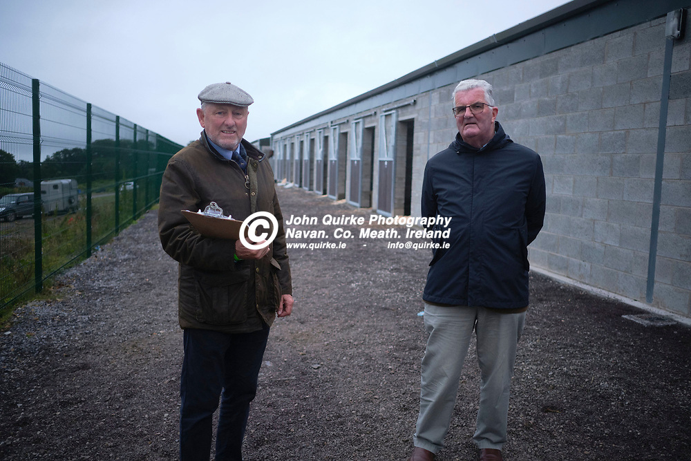 27/08/2020, Racing at Bellewstown<br /> Kevin Coleman (Bellewstown Racecourse Manager) and Jim Corcoran (Bellewstown Racecourse Chairperson) pictured in the new racecourse stables in Bellewstown.<br /> Photo: David Mullen / www.quirke.ie ©John Quirke Photography, Unit 17, Blackcastle Shopping Cte. Navan. Co. Meath. 046-9079044 / 087-2579454.<br /> FUJIFILM X-T3<br /> ISO: 800; Shutter: 1/250; Aperture: 2;<br /> File Size: 55.9MB