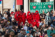 Extinction Rebellion climate activists gather in Trafalgar Square despite the police imposing a section 14 of the Public Order Act 1986 order in effect banning all protest by the group in London.