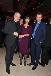 Left to right, DAVID GILMOUR, POLLY SAMSON and HUGH DENNIS at the 2011 Costa Book Awards held at Quaglino's, 16 Bury Street, London on 24th January 2012.
