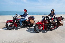 Andrea Labarbara riding her 1934 Indian 4-cylinder beside her husband Bob Zeola on his Knucklehead during the Cross Country Chase motorcycle endurance run from Sault Sainte Marie, MI to Key West, FL. (for vintage bikes from 1930-1948). Stage-10 covered just 110 miles from Miami to the finish in Key West, FL USA. Sunday, September 15, 2019. Photography ©2019 Michael Lichter.
