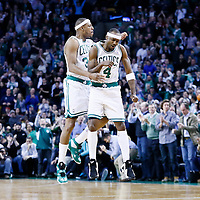 18 January 2013: Boston Celtics shooting guard Jason Terry (4) celebrates with Boston Celtics small forward Paul Pierce (34) during the Chicago Bulls 100-99 overtime victory over the Boston Celtics at the TD Garden, Boston, Massachusetts, USA.
