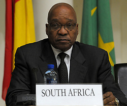 August 8, 2017: FILE: South Africa's parliament debates over a no-confidence motion on President JACOB ZUMA, debate is also over the future of the ruling African National Congress. The former liberation movement has led South Africa since the first all-race elections in 1994, but some parliament members warn that the ANC will lose support if Zuma is allowed to stay in office. If the no-confidence motion succeeds, Zuma will have to resign immediately. He has survived such votes in the past, but this is the first to use a secret ballot. The ANC had its worst showing last year in municipal elections as Zuma faced allegations of corruption. Pictured: PRETORIA, June 26, 2011  South African President Jacob Zuma attends a press conference in Pretoria, South Africa, June 26, 2011. Libyan leader Colonel Muammar Gaddafi had accepted of not being part of the negotiation process, according to the communiqu¨¦ issued by the meeting of the African Union (AU) High-Level ad hoc Committee on Libya in Pretoria on Sunday.  The meeting which was attended by presidents from Mauritania, Uganda, Mali, South Africa, foreign minister of the Republic of Congo, AU Commissioner for Peace and Security had closed discussions in presidential guesthouse in Pretoria. (Credit Image: © Xinhua via ZUMA Wire)