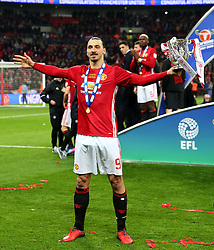 Zlatan Ibrahimovic celebrates with the EFL Cup  - Mandatory by-line: Matt McNulty/JMP - 26/02/2017 - FOOTBALL - Wembley Stadium - London, England - Manchester United v Southampton - EFL Cup Final