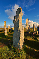 Monolith of Calanais Neolithic Standing Stone (Tursachan Chalanais) , Isle of Lewis, Outer Hebrides, Scotland. .<br /> <br /> Visit our SCOTLAND HISTORIC PLACXES PHOTO COLLECTIONS for more photos to download or buy as wall art prints https://funkystock.photoshelter.com/gallery-collection/Images-of-Scotland-Scotish-Historic-Places-Pictures-Photos/C0000eJg00xiv_iQ<br /> '<br /> Visit our PREHISTORIC PLACES PHOTO COLLECTIONS for more  photos to download or buy as prints https://funkystock.photoshelter.com/gallery-collection/Prehistoric-Neolithic-Sites-Art-Artefacts-Pictures-Photos/C0000tfxw63zrUT4