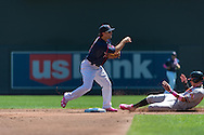 Brian Dozier #2 of the Minnesota Twins turns a double play over Manny Machado #13 of the Baltimore Orioles on May 12, 2013 at Target Field in Minneapolis, Minnesota.  The Orioles defeated the Twins 6 to 0.  Photo: Ben Krause