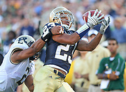 Golden Tate, seen here against Purdue University at Notre Dame Stadium, hauls in a deep pass.