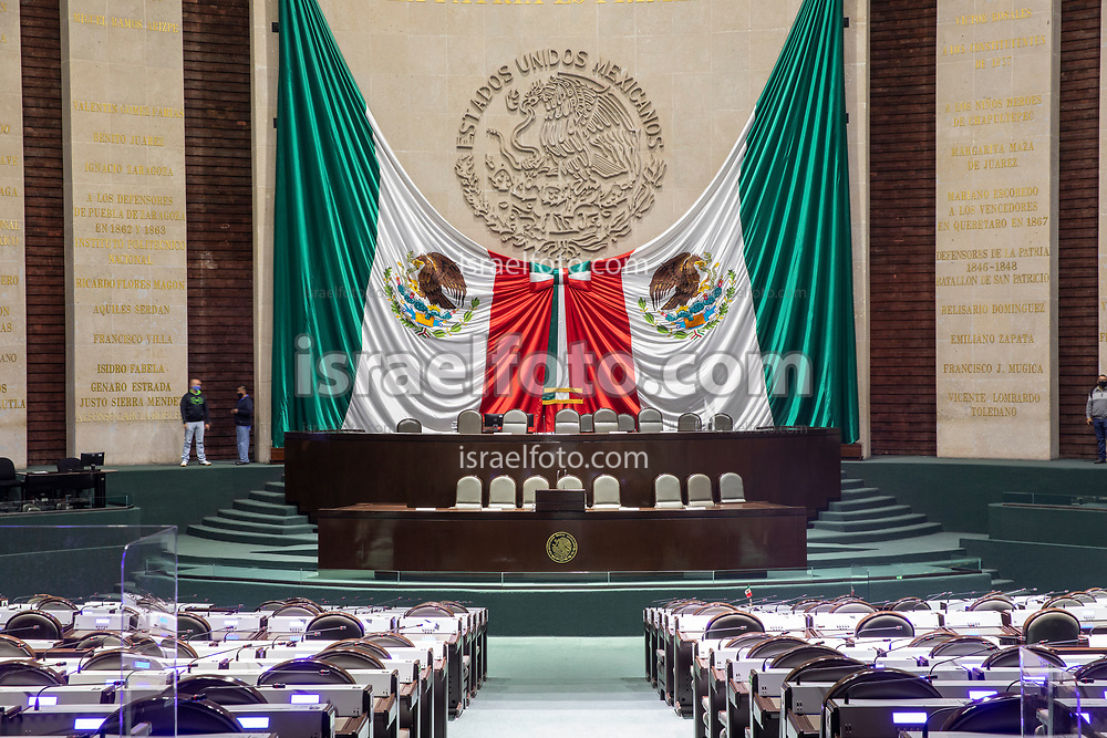 28 de agosto de 2020. Ciudad de México. Vista general del salon de plenos de la cámara de diputados  /  General view of the plenary hall fo the chamber of deputies
