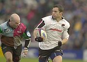 Twickenham, Surrey, 11th November 2002, Zurich Premiership Rugby, Stoop Memorial Ground, England,<br /> [Mandatory Credit: Peter Spurrier/Intersport Images],Zurich Premiership Rugby Harlequins v Saracens. [L] Paul BURKE, [R] Darragh O'Mahony,
