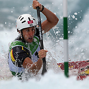 Mathieu Doby, Belgium, in action during the Kayak Single (K1) Men Final during the Canoe Slalom competition at Lee Valley White Water Centre during the London 2012 Olympic games. London, UK. 1st August 2012. Photo Tim Clayton