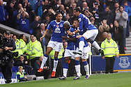 Arouna Kone of Everton (c) celebrates with his teammates after scoring his teams 2nd goal. Barclays Premier League match, Everton v Sunderland at Goodison Park in Liverpool on Sunday 1st November 2015.<br /> pic by Chris Stading, Andrew Orchard sports photography.