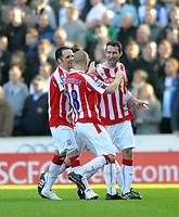 Stoke City/Blackburn Rovers Premiership 06.02.10<br /> Photo: Tim Parker Fotosports International<br /> Danny Higginbotham Stoke celebrates 1st goal with team mates