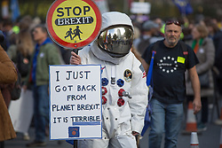 @Licensed to London News Pictures 19/10/2019. London. Supporters of the People's Vote second referendum campaign march through Central London today finishing in Parliament Square outside the Houses of Parliament. Organisers claim that up to a million protestors took to the streets.Photo credit: Manu Palomeque/LNP
