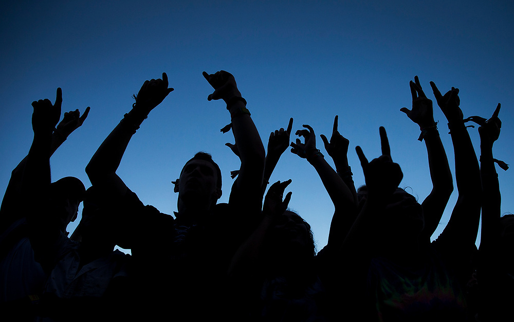 People throw their hands up as AJR performs during the Austin City Limits Music Festival on Sunday, Oct. 8, 2017, in Austin, Texas. NICK WAGNER / AMERICAN-STATESMAN