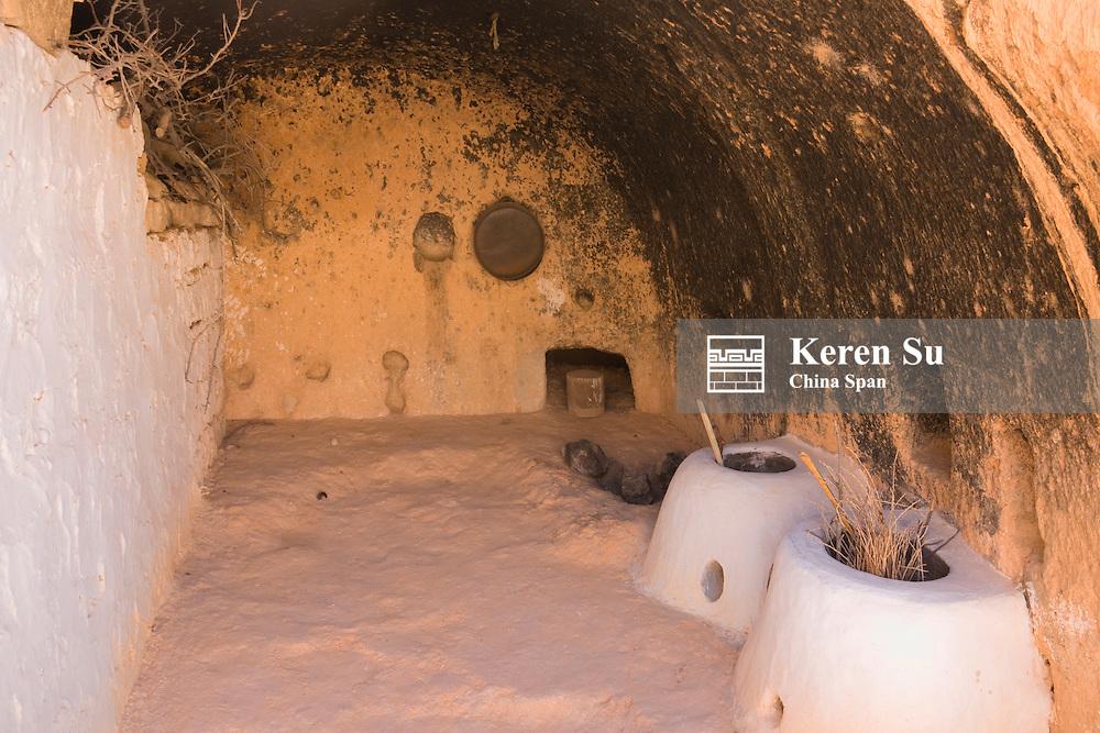 Troglodyte dwellings (houses built underground), Matmata, Tunisia
