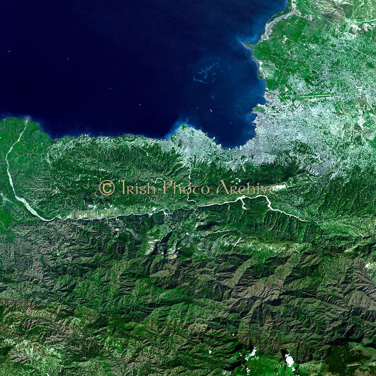 On Jan. 21, 2010, Port-au-Prince, Haiti, region, nine days after a magnitude 7.0 earthquake struck the region. Jan. 21, 2010. Satellite image.