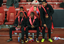 2 November 2017 -  UEFA Europa League (Group H) - Arsenal v Red Star Belgrade - (L-R) Chuba Akpom, Ben Sheaf, Marcus McGuane (standing) (Front Row L-R) Jordi Osei-Tutu and Edward Nketiah of Arsenal - Photo: Marc Atkins/Offside